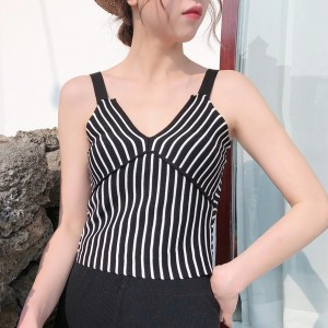 Strap Shoulder Striped Backless Blouse Top - Black