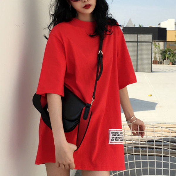 Loose O Neck Half Sleeved Baggy T-Shirt - Red