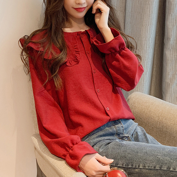 Ruffle Shoulders O Neck Button Up Blouse - Red