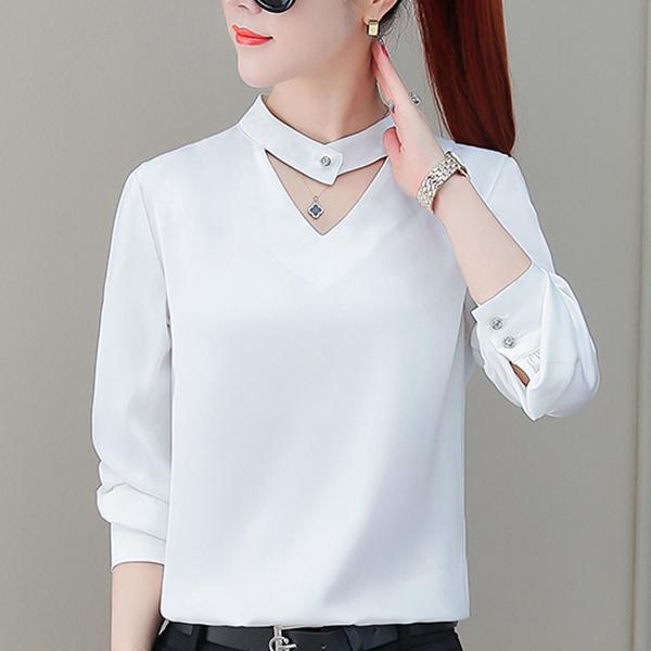 Double V Neck Formal Office Blouse Shirt - White