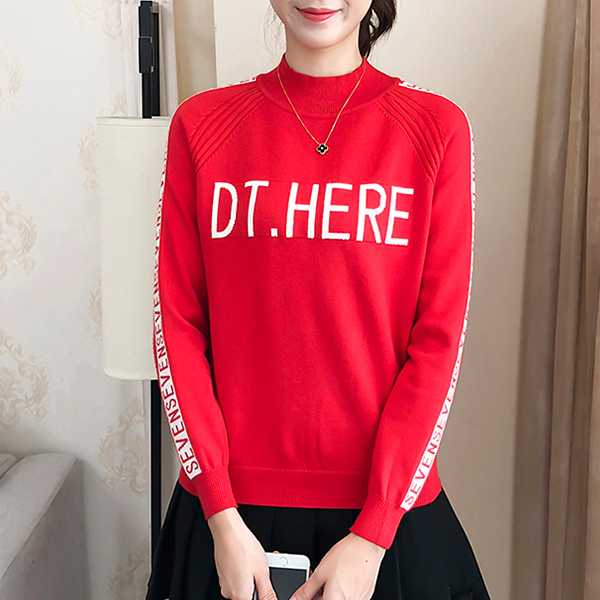 Printed Stand Neck Ribbed Loose T-Shirt - Red