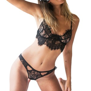 Bra And Underwear Set Lace Bralette Lingerie Black