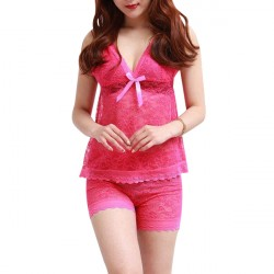 Two Pieces Floral Lace Pink Nightwear Lingerie