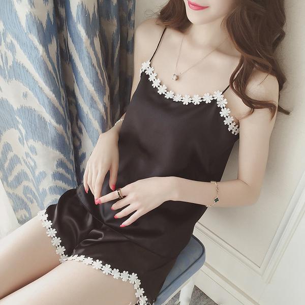Decorated Lace Silk Soft Nightwear Dress - Black