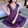 Ladies Sleeping Sexy Silk Harness Sleeveless Lingerie Purple