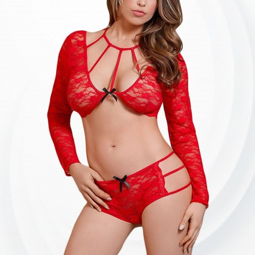 Hand Covered Lace Floral Transparent Lingerie - Red