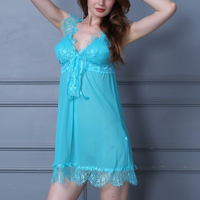 Floral Lace Decorated Fancy Sky Blue Net Lingerie