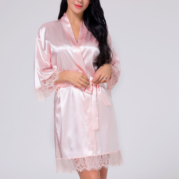 Waist Belt Lace Silk Night Suit Dress - Pink