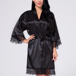 Waist Belt Lace Silk Night Suit Dress - Black