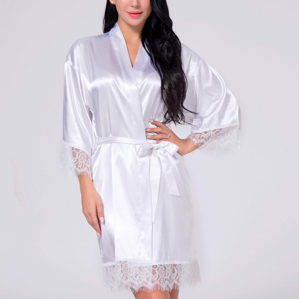 Waist Belt Lace Silk Night Suit Dress - White