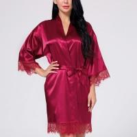 Waist Belt Sleepwear Sexy Silk Nighwear Gown - Red