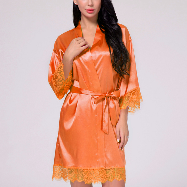 Waist Belt Lace Silk Night Suit Dress - Orange