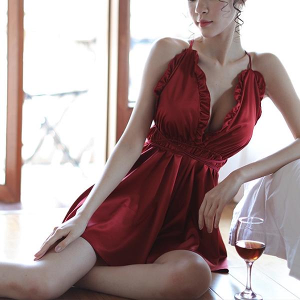 Backless Ruffled Silky Nightwear Lingerie - Burgundy