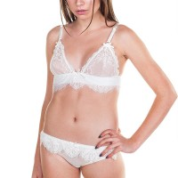 Mashed Up Transparent Lace Buckle Strap Lingerie - White