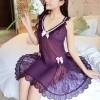 Backless Sexy Harness Nightwear Skirt Lingerie Purple