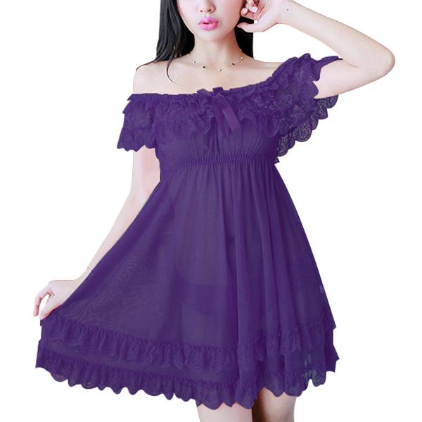 Off Shoulder Transparent Tulle Sling Night Skirt Lingerie Purple