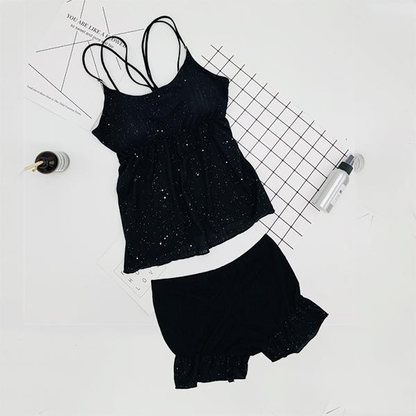 Strap Shoulder Nightwear Two Piece Suit - Black