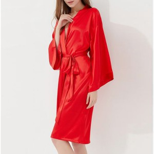 Shiny Bat Sleeved Waist Band Nightwear Suit - Red