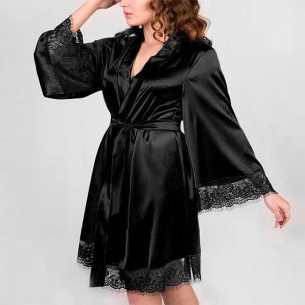 Lace Tassel Sleeved Nightwear Suit - Black
