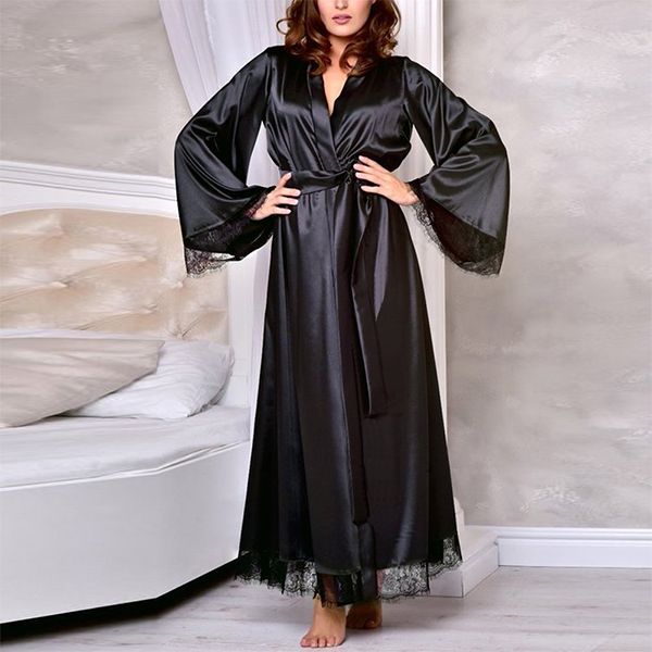 Full Size Tempting Lace Patch Silk Nightwear Suit - Black