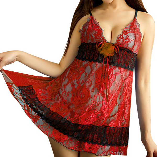 Night Elegant Sexy Lace Lingerie Embroidery Print Red