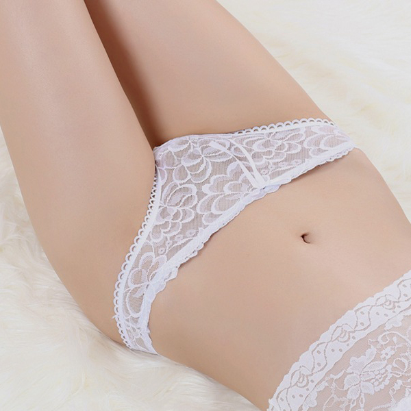 Bow Floral Lace Transparent Nightwear Panty - White