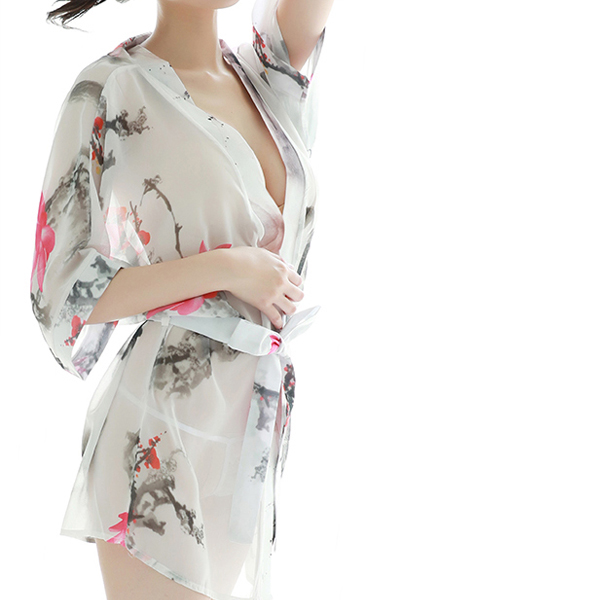 Waist Band Floral Prints Wrapped Lingerie