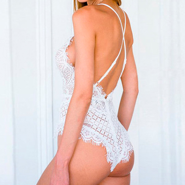 Backless White Lace Transparent Full Tighty Lingerie