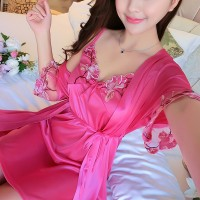 Two Pieces Nightwear Intimate Sleepwear Lingerie Set - Hot Pink