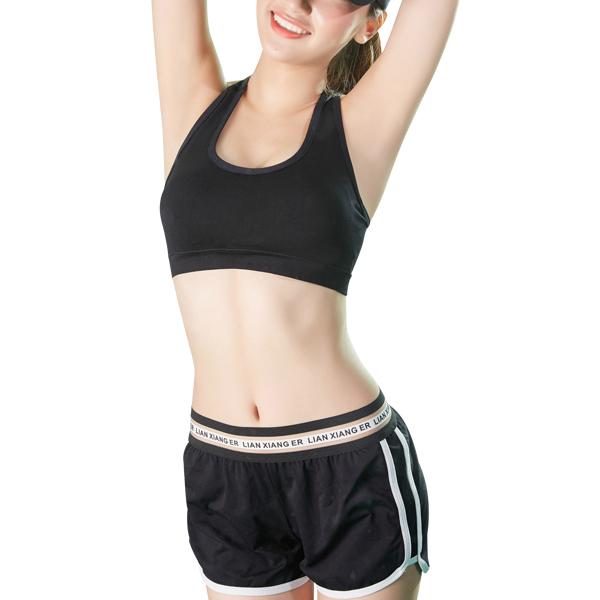 Two-piece Sports Bra Underwear Short Plain Suit Black