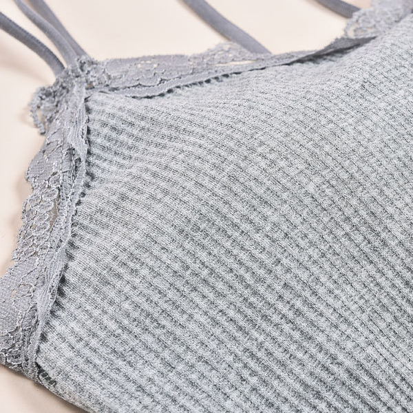 Ribbed Summer Special Beach Wear Bra - Grey