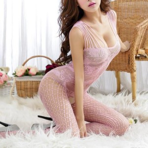 Strap Hollow Floral Lace Body Stockings - Pink