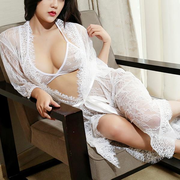 Ribbon Closure Full Transparent Nightwear Lingerie - White