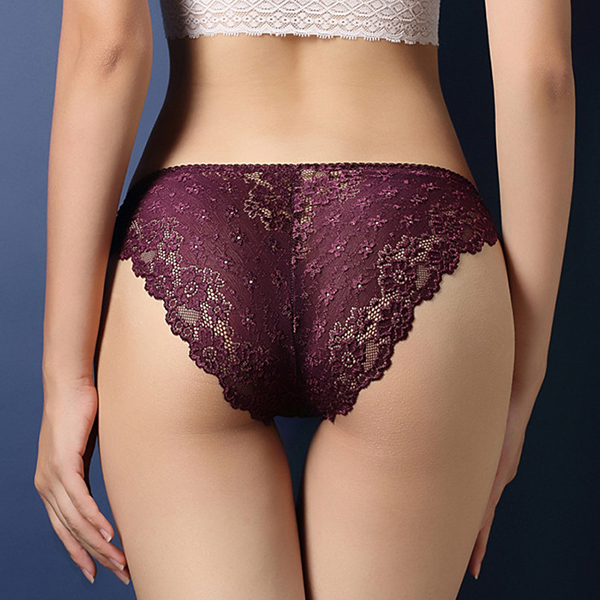 Lace Embroidered Texture Frill Transparent Panty - Purple
