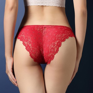 Lace Embroidered Texture Frill Transparent Panty - Red