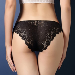 Lace Embroidered Texture Frill Transparent Panty - Black