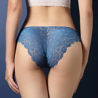 Lace Embroidered Texture Frill Transparent Panty - Blue