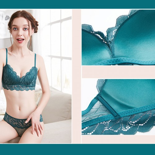 Strap Bra Lace Summer Collection Lingerie Set - Green