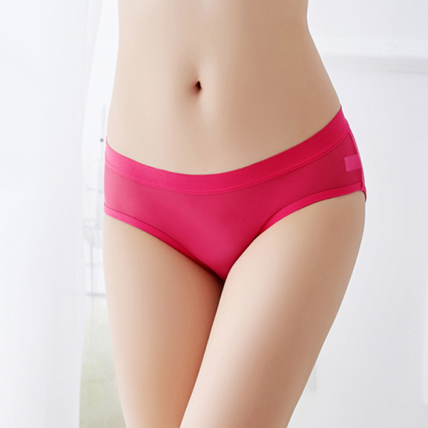 Cut Out Transparent Ribbon Sexy Underwear - Rose Red