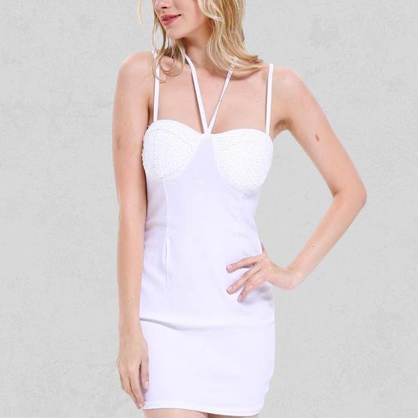 Strappy Neck Designers Sexy White Nightwear