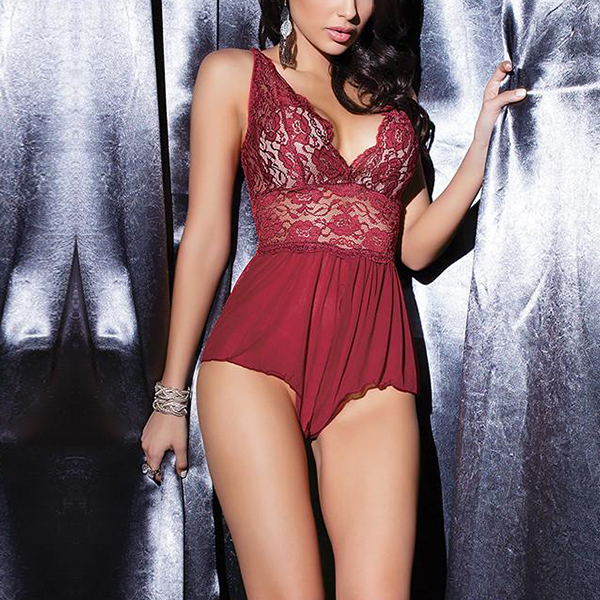 Floral Lace Textured Nightwear Lingerie