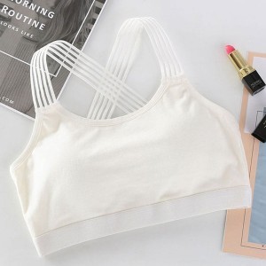 Lace Shoulder Strap Sports Wear Breathable Bra - White