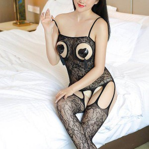 Cut Out Bust Strap Textured Body Stockings