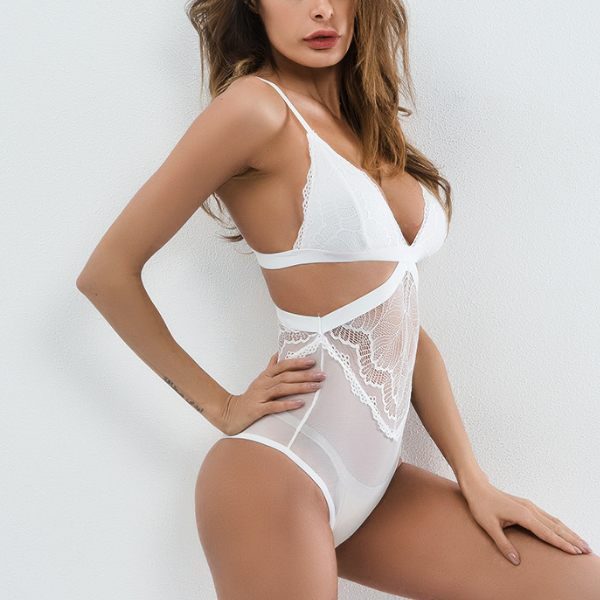 Lace Bra Cut Out Complete Textured Lingerie - White