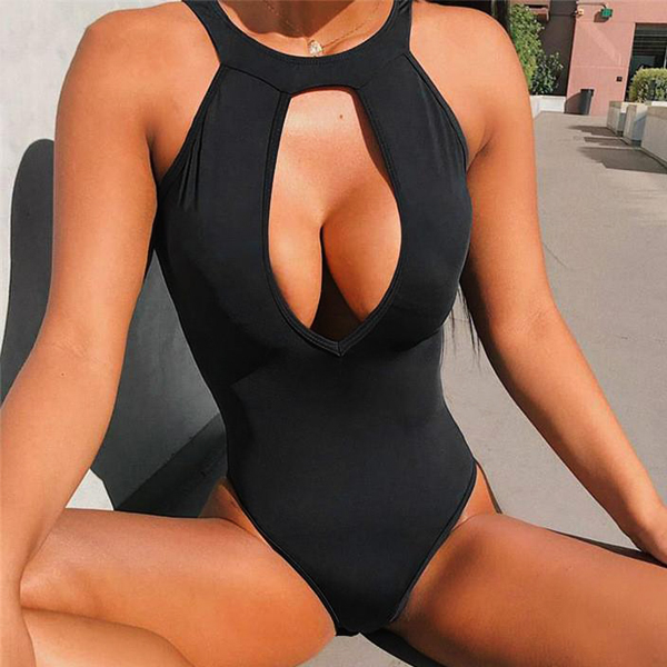 Halter Cut Out Neck Backless Swimwear - Two Colors