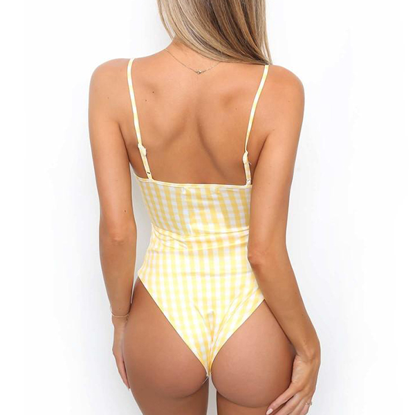 Bust Knotted Checks Print Polyester Swimwear