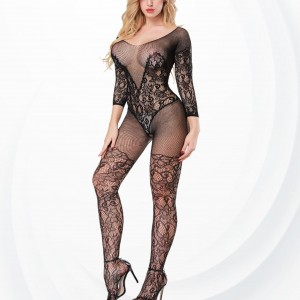 Lace Textured Fish Net Transparent Body Stockings - Black