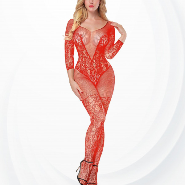 Lace Textured Fish Net Transparent Body Stockings - Red