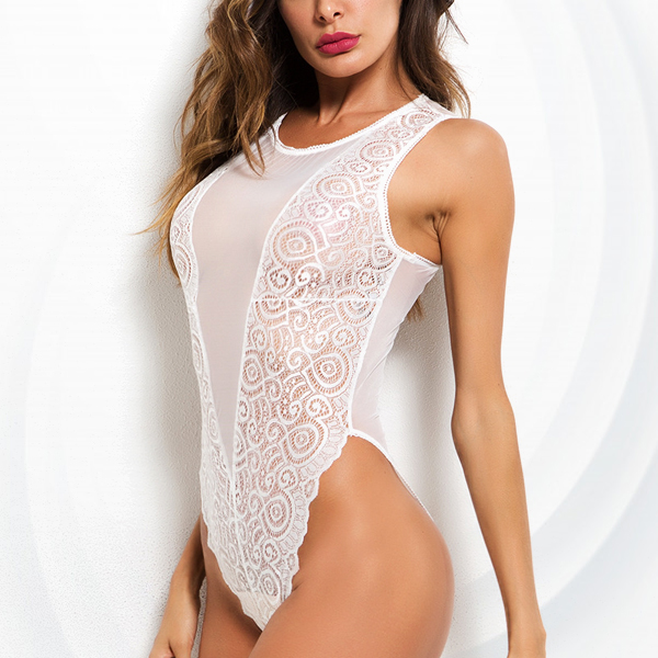 V Neck Transparent Net Lace Lingerie - White