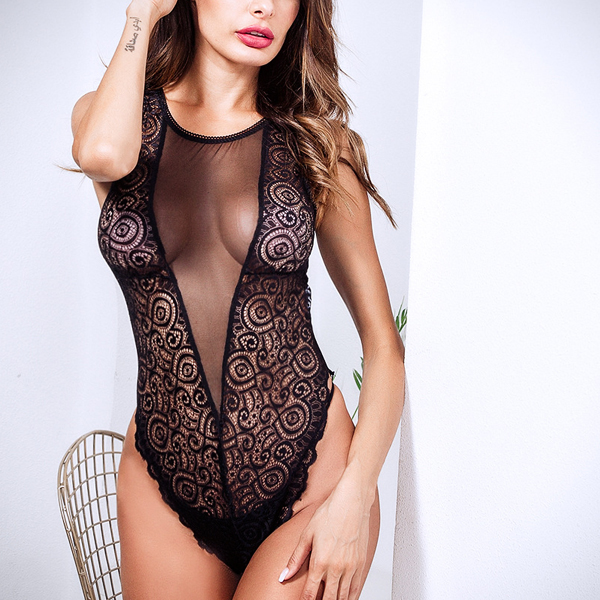 V Neck Transparent Net Lace Lingerie